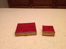 Ladies Vintage Compact & Pill Box Matching Maroon Faux Animal Skin Gold Tone