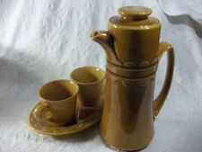 Vintage  8 Peice Teapot Tea Set Coffee Pot Amber Stoneware Cup Mugs Yellow