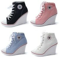 Womens Wedge Canvas Zip Sneakers Lady Casual Lace Up High Heel Trainers