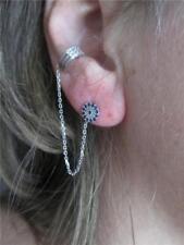 Sterling Silver & CZ Evil Eye Stud Earring with Chain & CZ Ear Cuff