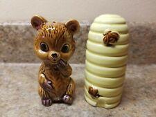Bear Bee Hive Salt & Pepper Shaker Set Ceramic Japan