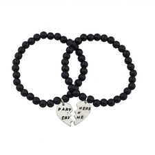Lux Black Beaded Partners In Crime BFF Best Friends Matching Bracelet Set.