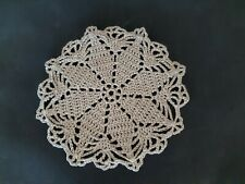 Vintage small round ecru hand crocheted doily.