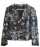 Topshop Relaxed Blazer Jacket Monochrome Black White Graphic Print Work 12 40