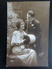 Greeting: A Happy Christmas, Romance & Muff, Old Postcard (2)