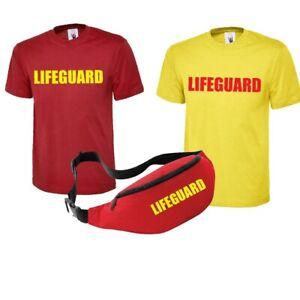 Lifeguard Printed T Shirt & Bum Bag -Beach Fancy Dress Life Guard Party Unisex T