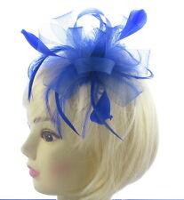 azul real Malla Tocado con plumas para Bodas, RAZAS, Fiesta