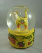 Annaco Creations Whimsiclay Musical Water Globe Fruity Cat by Lacombe 25002 Nib