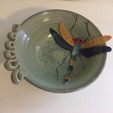 Large Beautiful Art Pottery Bowl DeGuzman Dragonfly Motif