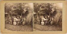 Famille en pose dans le Jardin c1900 Photo Stereo Vintage Citrate
