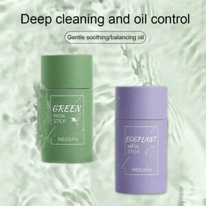 Green Tea Eggplant Purifying Clay Stick Cover Oil Control Anti-Acne Solid Clean