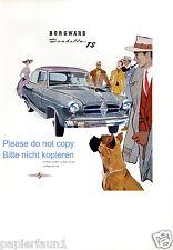 Borgward Isabella Reklame von 1957 Buchmann Oldenburg Hund Boxer Werbung  ad