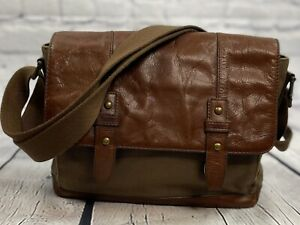 Fossil Brown Leather & Canvas Messenger briefcase Laptop Crossbody Bag unisex