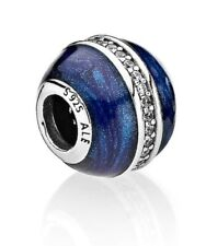 Authentic Pandora Charm 796377 Silver925 Blue Enamel with Orbit CZ Bead