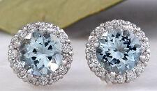 3.05ct Naturale Acquamarina e Diamante 14K Solido Bianco Orecchini Oro