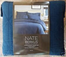 Nate Berkus Diamond Gauze Duvet Cover Shams Bed Set ~ NEW Navy Blue KING
