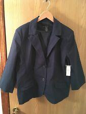 Attention Ladies Pants Suit SET (Blazer/Capris) size 18 Navy Blue Pinstripe