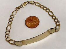 "14k Solid Real Gold Bracelet ID Men Yellow Figaro plain 8"" 8g free engrave"