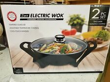 "Chef's Counter 2 pcs Electric Wok ""Ceramic Coated Aluminum"" Cc-224 Brand New!"