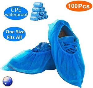 100PCS Disposable Plastic Shoe Covers Rain Overshoes Protector Waterproof Pack
