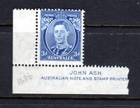 1938 ***MUH*** KGVI - 3d BLUE ( Die II )  SG 168c with JOHN ASH IMPRINT - SUPERB