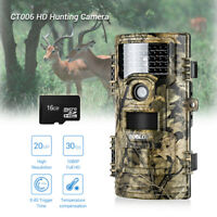 Hunting Trail Camera 20MP 1080P IR Infrared Security Camera + 16GB + 3xBelts