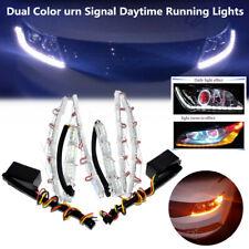 2PCS Dual Color Tearful Eyes LED Turn Signal Daytime Running Light White Amber