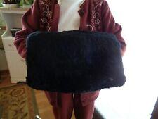 "Vintage Large Black Fur Hand Warmer Muff W/ Satin Lining 16"" X 12"""