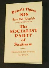 1936 Detroit Tigers Baseball Schedule Compliments The Socialist Party of America