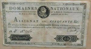 Assignat 50 livres 1792 Louis XVI Revolution Rare