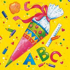 20 Servietten ABC Schulanfang Einschulung Schule Zuckertüte Schultüte - 33x33xm
