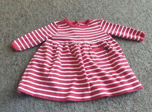 Jojo Maman Bebe red striped long sleeved dress age 3-6 months