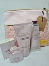 L'Occitane Terre de Lumière L'Eau 4 Piece Set: Radiant Balm, Body Milk, EDT New