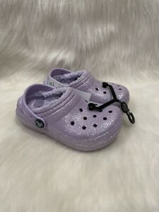 NEW Crocs Purple Glitter Sparkle Fur Lined Clog Toddler Shoes size C 10 NWT