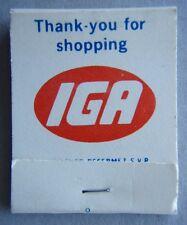 Thank-you For shopping IGA Merci de votre patronage chez Matchbook (MK1)