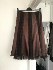 M&S Per Una Size Uk 12 Brown Satin And Taffeta Skirt.   (b11)