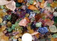 Free Black Light 400+Carat Mix Lot Tiny-Med Sz Rough Ruby Sapphire Emerald +More