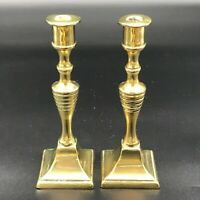 VINTAGE SOLID BRASS PAIR CANDLESTICK CANDLE HOLDER  APPROX 15CM HIGH
