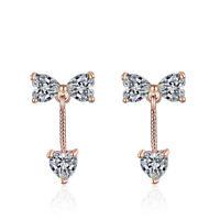 Shiny Love Heart Bow Austrian Crystal Stud Earrings Women Girls Gift Jewelry