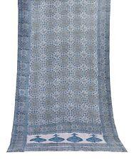 Vintage Printed Sari Floral Indian Dress Silk Blend Fabric Turquoise Saree Craft