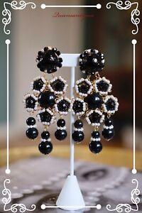 "LAWRENCE VRBA Stunning OOAK Art Deco Seed Beads Filigree Earrings 4.0"""