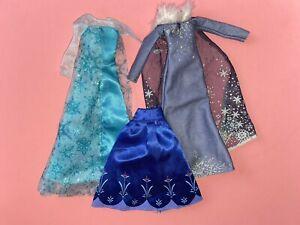 Disney Frozen Elsa & Anna Doll Dress Clothes Lot Fits Barbie