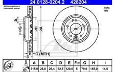 1x ATE Disco de freno delantero Ventilado 315mm 24.0128-0204.2