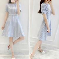 Elegant Stripe Print Dress Women Ladies O-neck Short Sleeve Tunic A-line Dresses
