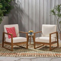 Marlee Outdoor Acacia Wood Club Chair with Cushions (Set of 2)