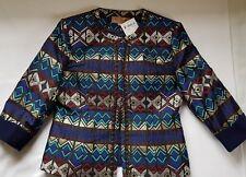 SHIRLEY SA Womens Evening/Formal Jacket Sz 42 (14) BNWT Silver Gold Royal Lined