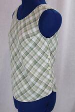 Green Small Plaid Tank Top Linen Blend S Sleeveless Halter Shirt Buttoned VTG SM