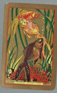Genuine Swap Vintage Playing Card Japanese Golden Carp Herringbone