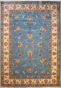 Rugstc 6x9 Senneh Pak Persian Blue Area Rug, Hand-Knotted,Floral with Wool Pile