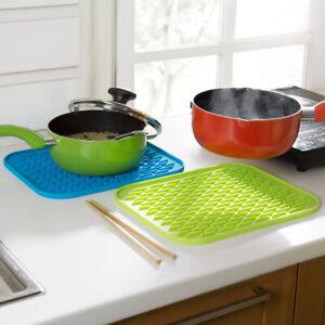 Rectangle Heat Resistant Silicone Trivet Mat Kitchen Non Slip Pot Pan Pad Holder